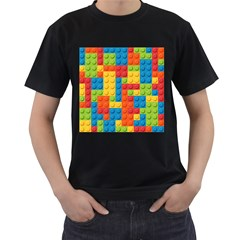 Lego Bricks Pattern Men s T-Shirt (Black) (Two Sided) by Etnousta