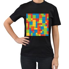 Lego Bricks Pattern Women s T-Shirt (Black) (Two Sided) by Etnousta