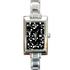 Black And White Pattern Rectangle Italian Charm Watch by Valentinaart