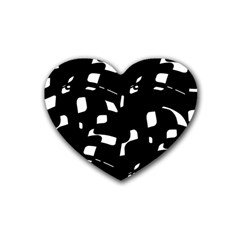 Black And White Pattern Rubber Coaster (heart)  by Valentinaart