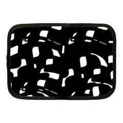 Black And White Pattern Netbook Case (medium)  by Valentinaart