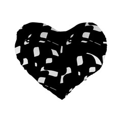 Black And White Pattern Standard 16  Premium Heart Shape Cushions by Valentinaart