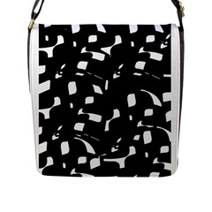 Black And White Pattern Flap Messenger Bag (l)  by Valentinaart
