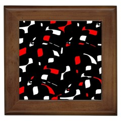 Red, Black And White Pattern Framed Tiles by Valentinaart