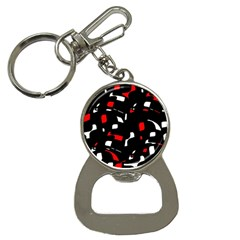Red, Black And White Pattern Bottle Opener Key Chains by Valentinaart
