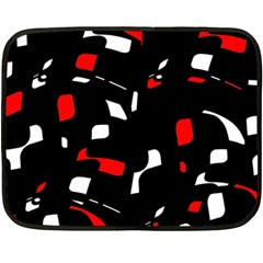 Red, Black And White Pattern Fleece Blanket (mini) by Valentinaart