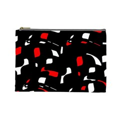 Red, Black And White Pattern Cosmetic Bag (large)  by Valentinaart
