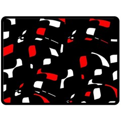 Red, Black And White Pattern Fleece Blanket (large)  by Valentinaart