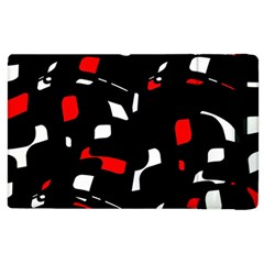 Red, Black And White Pattern Apple Ipad 2 Flip Case by Valentinaart