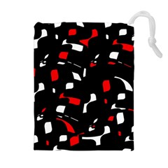 Red, black and white pattern Drawstring Pouches (Extra Large) by Valentinaart