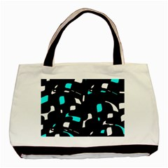 Blue, Black And White Pattern Basic Tote Bag (two Sides) by Valentinaart