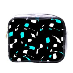 Blue, Black And White Pattern Mini Toiletries Bags by Valentinaart
