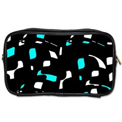 Blue, Black And White Pattern Toiletries Bags by Valentinaart