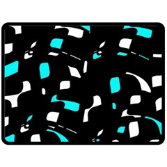 Blue, Black And White Pattern Fleece Blanket (large)  by Valentinaart