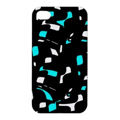 Blue, Black And White Pattern Apple Iphone 4/4s Premium Hardshell Case by Valentinaart