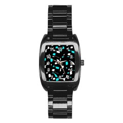 Blue, Black And White Pattern Stainless Steel Barrel Watch by Valentinaart