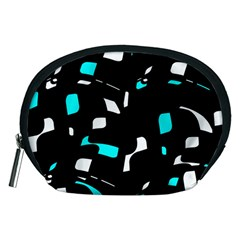 Blue, Black And White Pattern Accessory Pouches (medium)