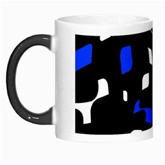 Blue, Black And White  Pattern Morph Mugs by Valentinaart