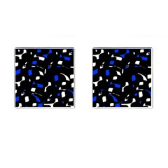 Blue, Black And White  Pattern Cufflinks (square) by Valentinaart