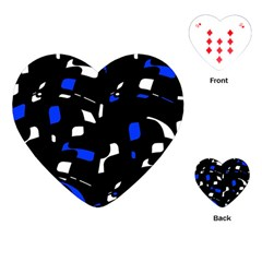 Blue, Black And White  Pattern Playing Cards (heart)  by Valentinaart