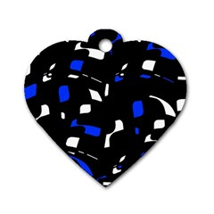 Blue, Black And White  Pattern Dog Tag Heart (two Sides) by Valentinaart
