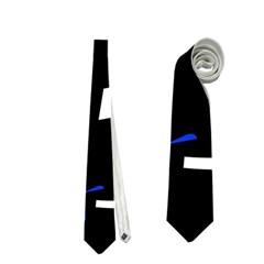 Blue, Black And White  Pattern Neckties (two Side)  by Valentinaart