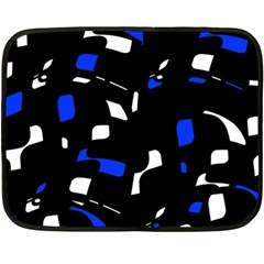 Blue, Black And White  Pattern Double Sided Fleece Blanket (mini)  by Valentinaart