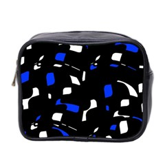 Blue, Black And White  Pattern Mini Toiletries Bag 2 Side by Valentinaart