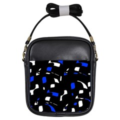 Blue, Black And White  Pattern Girls Sling Bags by Valentinaart