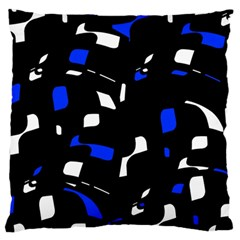 Blue, Black And White  Pattern Large Cushion Case (one Side) by Valentinaart