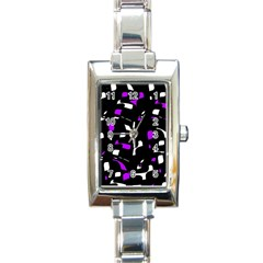 Purple, Black And White Pattern Rectangle Italian Charm Watch by Valentinaart