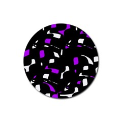 Purple, Black And White Pattern Rubber Coaster (round)  by Valentinaart