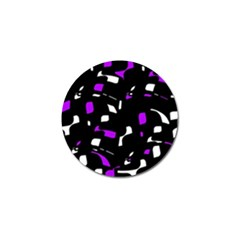 Purple, Black And White Pattern Golf Ball Marker (4 Pack) by Valentinaart