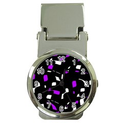 Purple, Black And White Pattern Money Clip Watches by Valentinaart