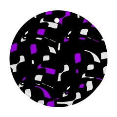 Purple, black and white pattern Round Ornament (Two Sides)  by Valentinaart