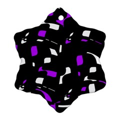 Purple, Black And White Pattern Snowflake Ornament (2 Side) by Valentinaart