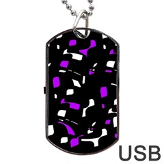 Purple, Black And White Pattern Dog Tag Usb Flash (one Side) by Valentinaart