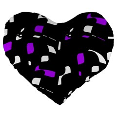 Purple, Black And White Pattern Large 19  Premium Flano Heart Shape Cushions by Valentinaart