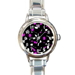 Magenta, Black And White Pattern Round Italian Charm Watch by Valentinaart