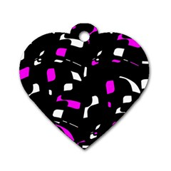 Magenta, Black And White Pattern Dog Tag Heart (two Sides) by Valentinaart