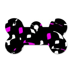 Magenta, Black And White Pattern Dog Tag Bone (one Side) by Valentinaart
