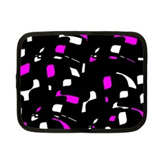 Magenta, Black And White Pattern Netbook Case (small)  by Valentinaart