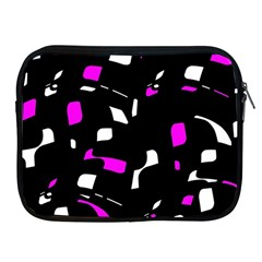 Magenta, black and white pattern Apple iPad 2/3/4 Zipper Cases by Valentinaart