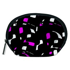 Magenta, Black And White Pattern Accessory Pouches (medium)  by Valentinaart