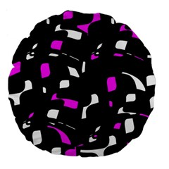 Magenta, Black And White Pattern Large 18  Premium Flano Round Cushions by Valentinaart