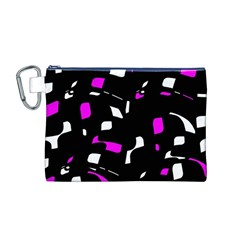 Magenta, Black And White Pattern Canvas Cosmetic Bag (m) by Valentinaart