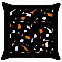 Orange, Black And White Pattern Throw Pillow Case (black) by Valentinaart