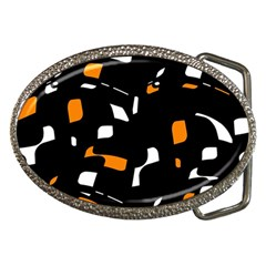 Orange, Black And White Pattern Belt Buckles by Valentinaart