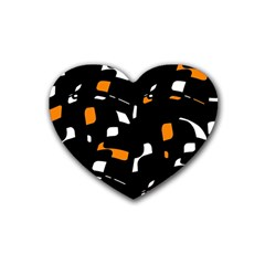 Orange, Black And White Pattern Rubber Coaster (heart)  by Valentinaart