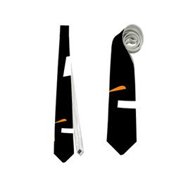 Orange, Black And White Pattern Neckties (two Side)  by Valentinaart